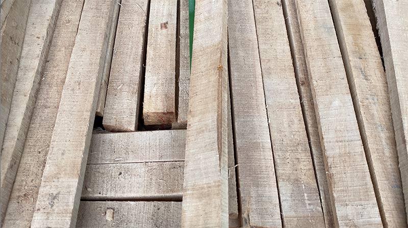 lỗi bị pha lẹm vỏ trên gỗ cao su xẻ sấy