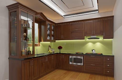 Giàn tủ bếp bằng gỗ lát