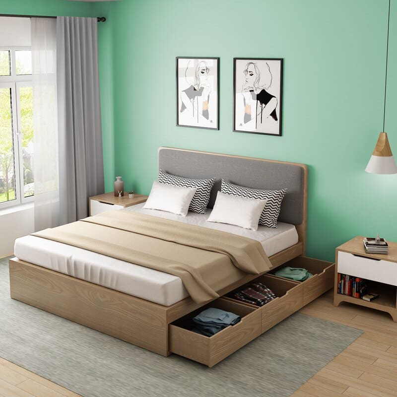 Giường bằng gỗ MDF phủ veneer