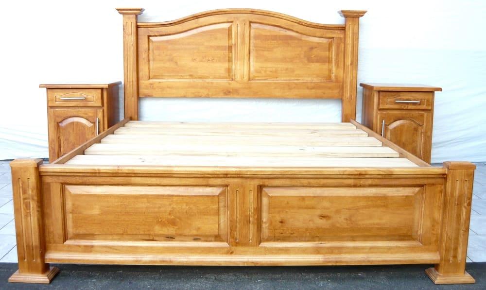 Giường gỗ tự nhiên bằng gỗ cao su