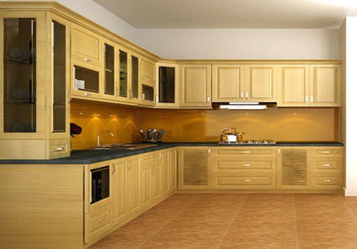 Tủ bếp làm từ gỗ tần bì mang lại vẻ đẹp sang trọng cho không gian