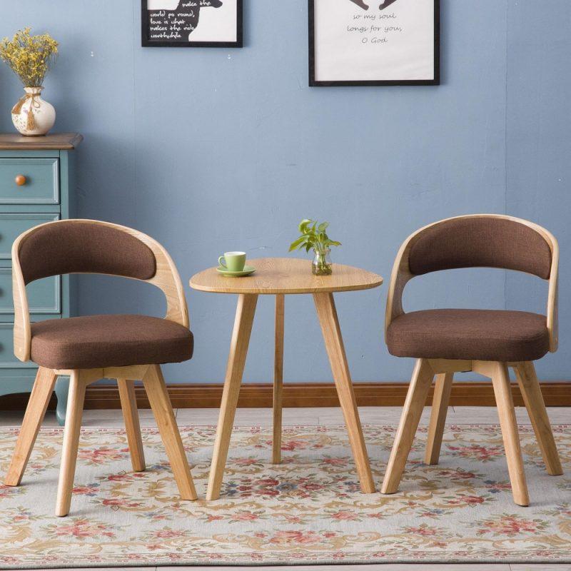 Bàn ghế cafe gỗ bọc nệm