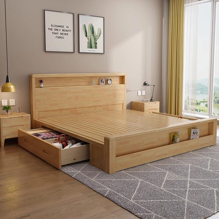 Giường ngủ gỗ sồi hiện đại
